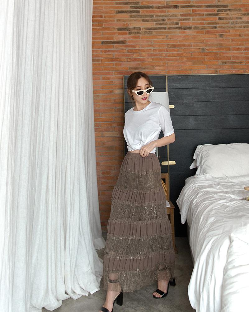 MERCCI22+多層拼接蕾絲長裙